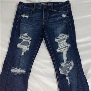dark wash ae ripped jeans